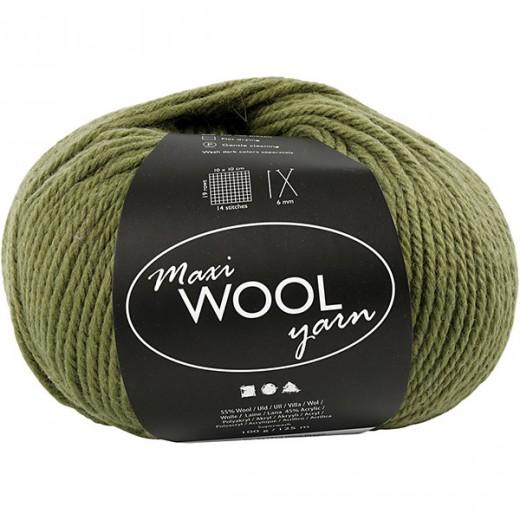 Maxi Wool Yarn - olīvzaļa (100 g, 125 m)