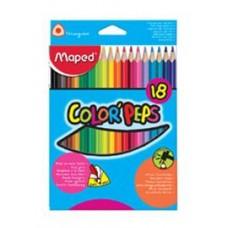 """Krāsainie zīmuļi """"MAPED Color' Peps"""" (18 krāsas)"""