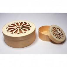 Apaļas koka kastes ar dekoratīvu vāku - komplekts (3 gb.)