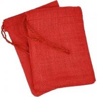 Džutas maisiņš - sarkans (12 x 17 cm)