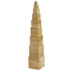 Koka kubiku tornis, dabīga koka krāsā