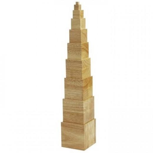 Koka kubiku tornis, dabīga koka krāsā - Montesori materiāli