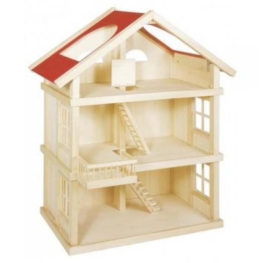 Koka leļļu māja bez mēbelēm