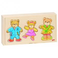 """Koka puzles """"Apģērb lāču ģimeni"""" (12 gb.)"""