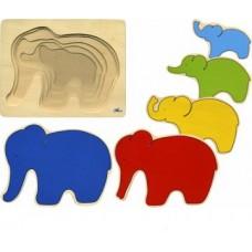 """Koka puzle 5 kārtas """"Zilonis"""""""