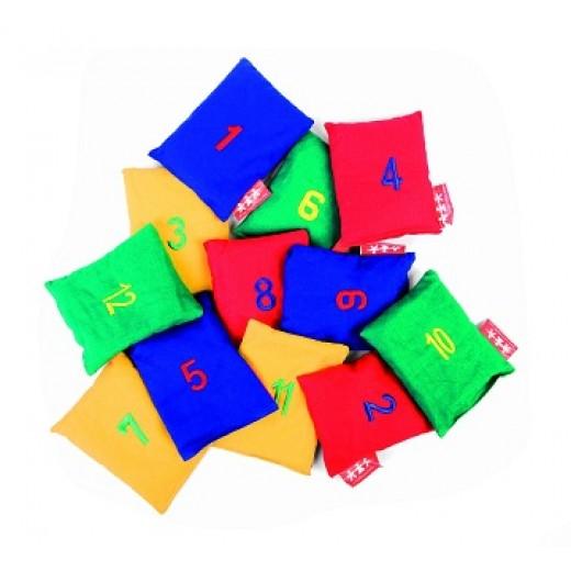 Auduma maisiņi ar cipariem (12 gb.) - Skaitīkļi, skaitīšanas materiāls, klasifikācija