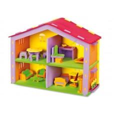 Krāsaina leļļu māja (43 x 17 x 33 cm)