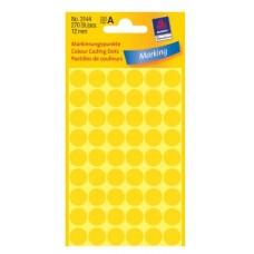 Apaļas uzlīmes, dzeltenas (diam. 12 mm)