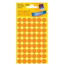 Apaļas uzlīmes, neona oranžas (diam. 12 mm)
