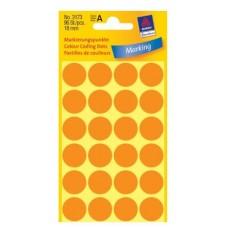 Apaļas uzlīmes, neona oranžas (diam. 18 mm)