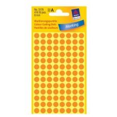 Apaļas uzlīmes, neona oranžas (diam. 8 mm)